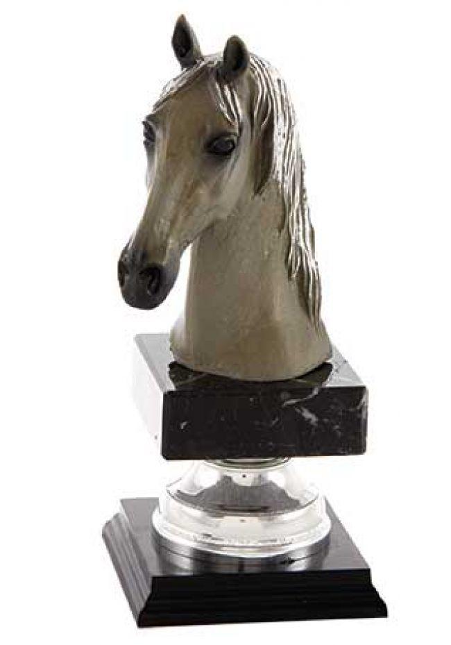 Trofeo figura cabeza caballo oro‐plata