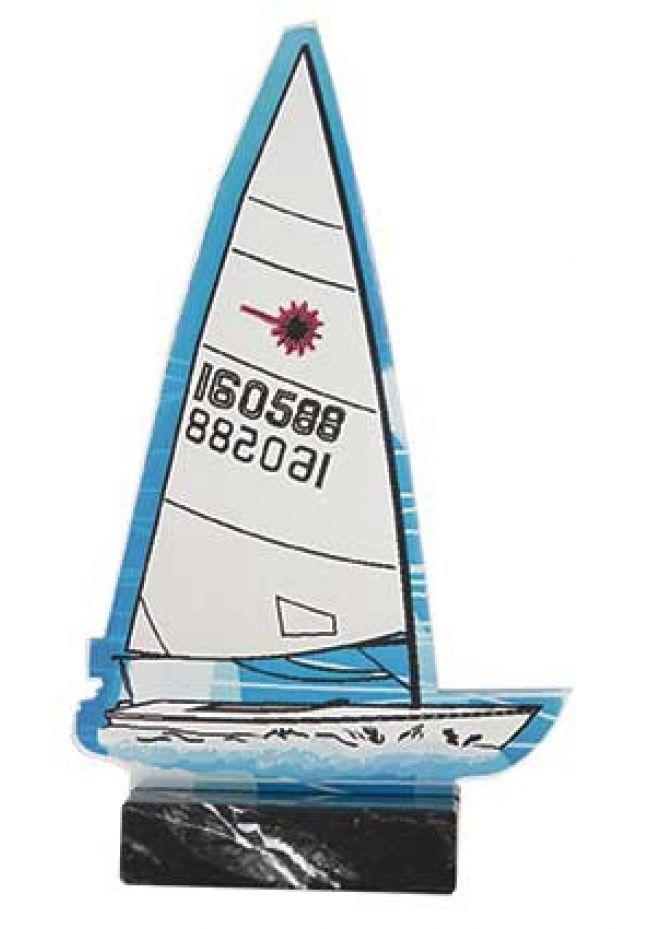 Trofeo barco de vela azul