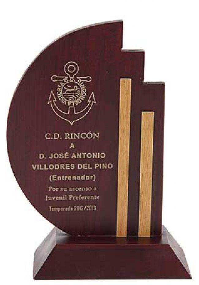 Trofeo de madera lineas bicolor