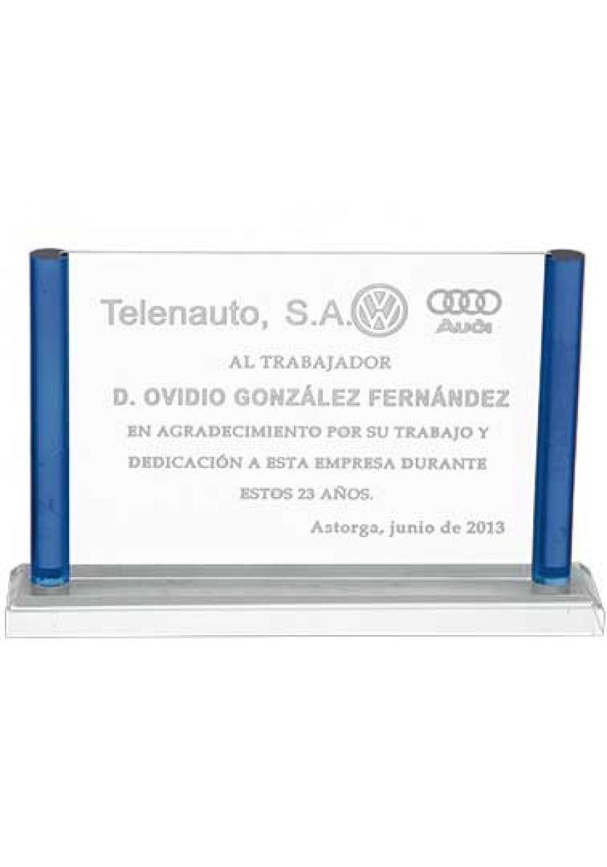 Placa de homenaje Trofeo de metacrilato rectangular