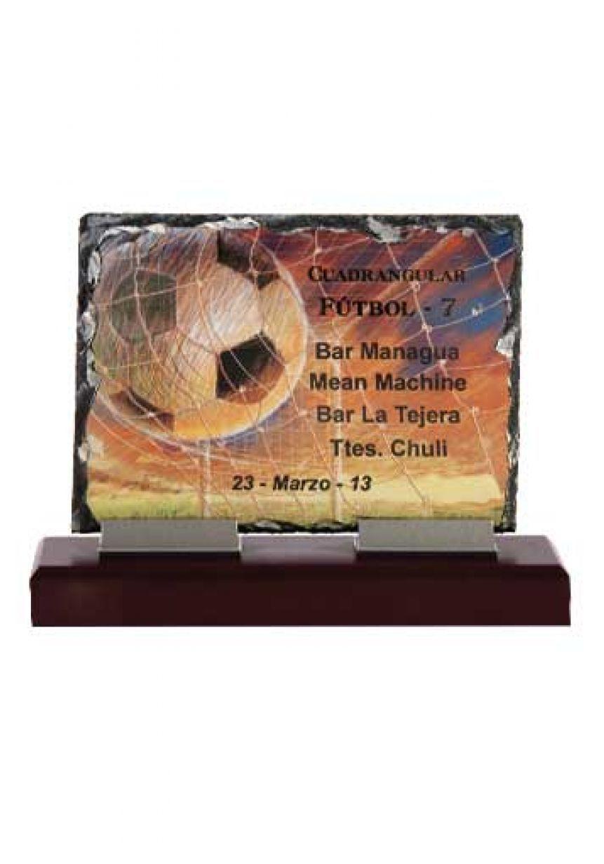 Trofeo de pizarra placa de cristal soporte aluminio base madera