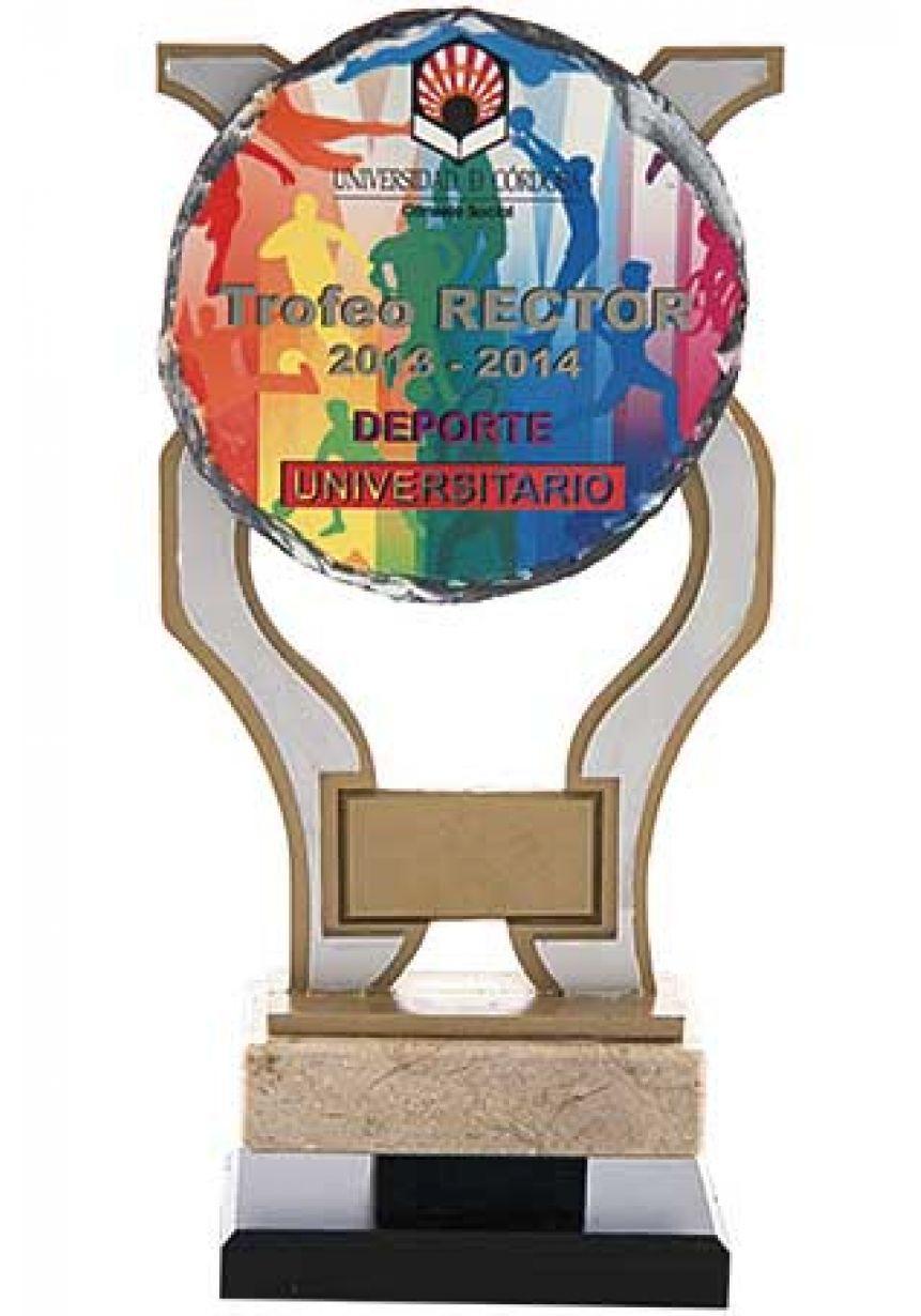 Trofeo de pizarra forma copa sublimación color base mármol-resina