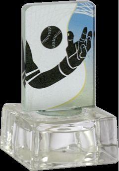 Trofeo de cristal  aplique color deportivo base cristal