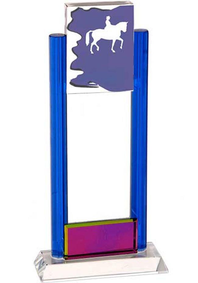 Trofeo de cristal dos columnas azul aplique cristal deportivo base cristal