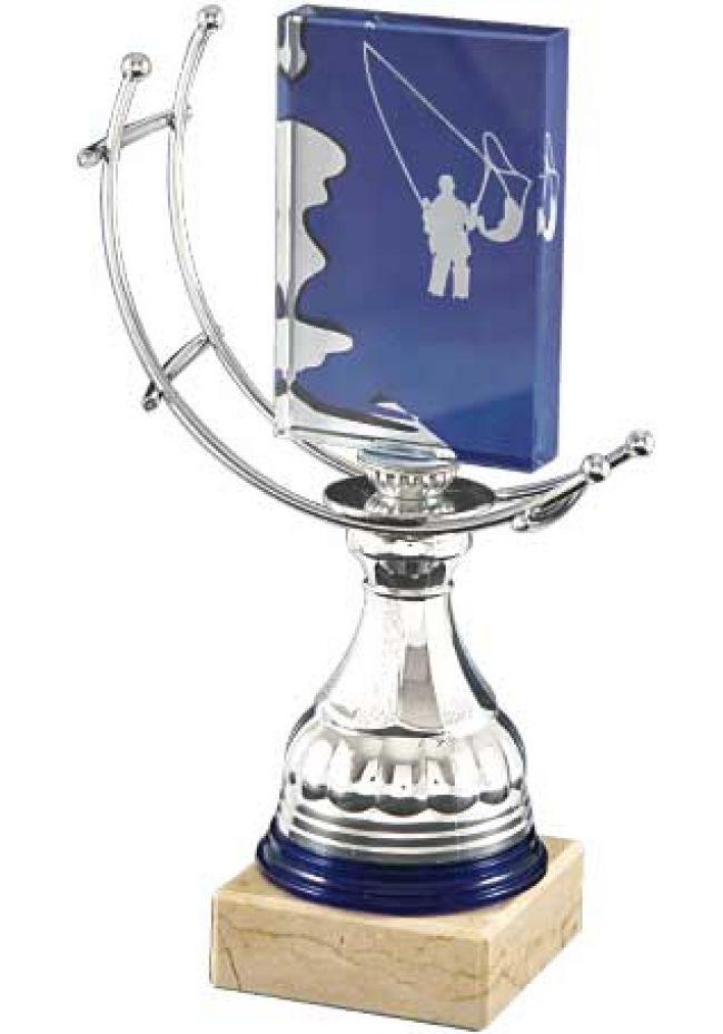 Trofeo de cristal forma rectangular impreso fondo azul aplique cristal deportivo soporte aluminio base mármol