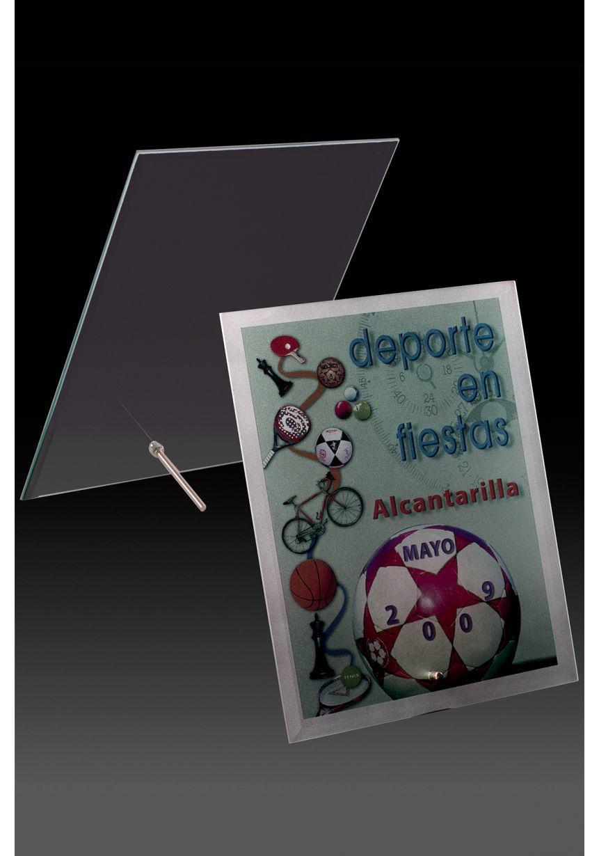 Trofeo di cristallo stampato rettangolare a forma di scatola supporto di colore alluminio