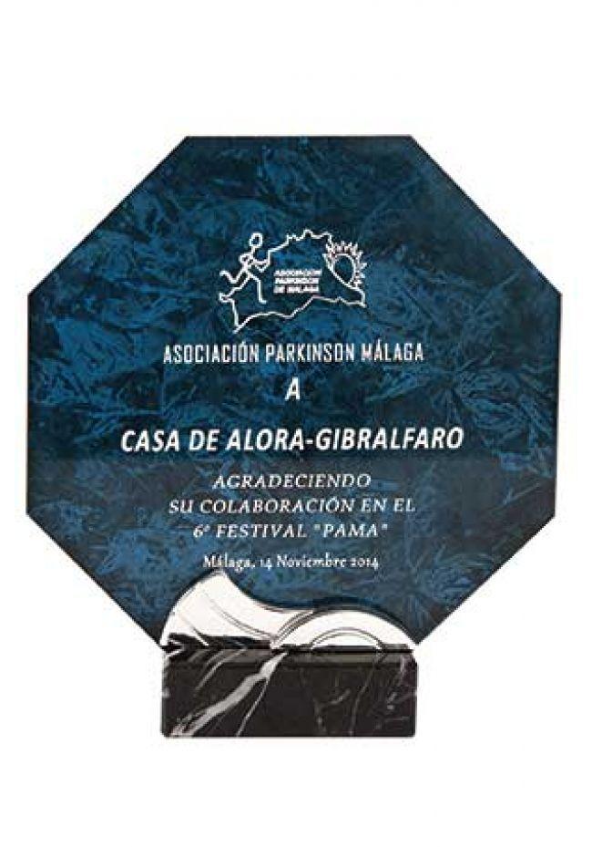 Trofeo de cristal octogonal impreso color soporte aluminio base mármol