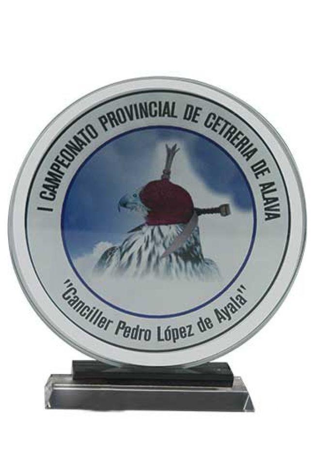 Trofeo de cristal circular impreso color soporte negro base aluminio