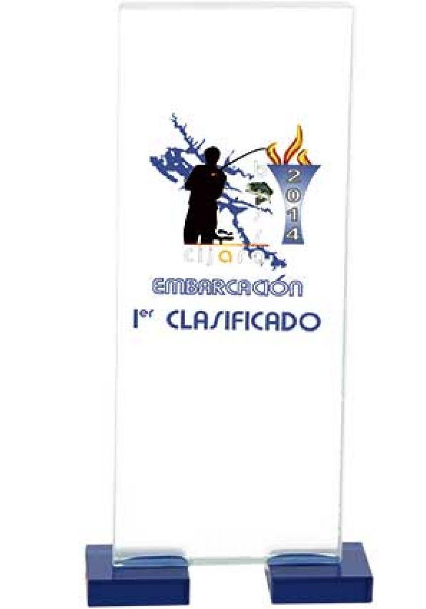 Trofeo de cristal forma rectangular impreso color soporte cristal azul