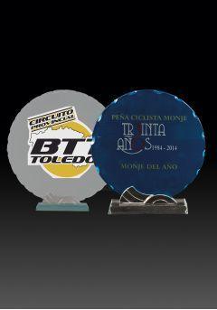 Trofeo de cristal forma circular impreso color soporte cristal base cristal Thumb