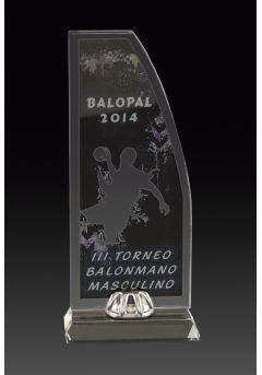 Trofeo de cristal forma vela impreso color soporte aluminio base cristal Thumb