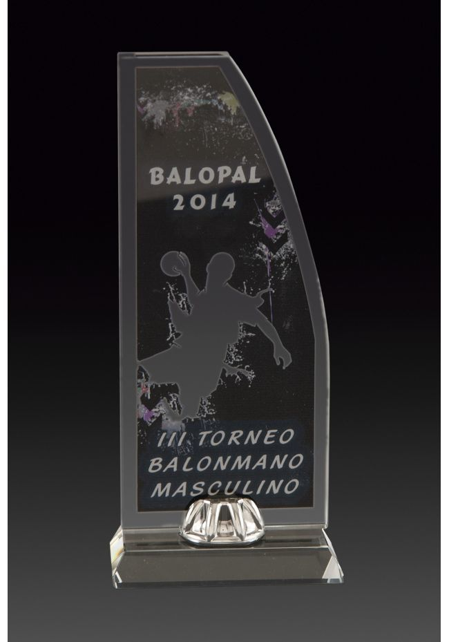 Trofeo de cristal forma vela impreso color soporte aluminio base cristal