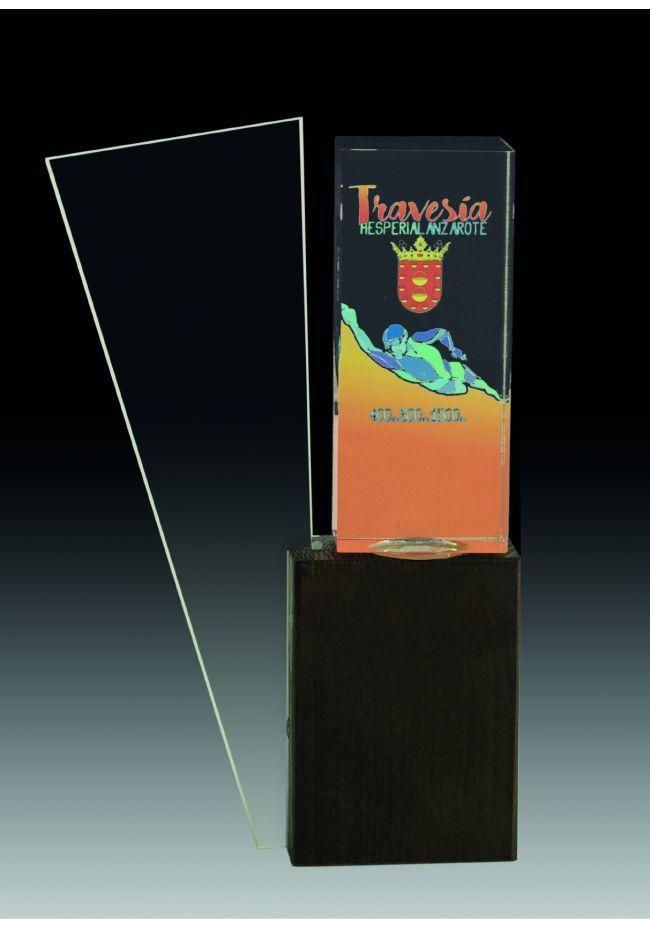 Trofeo de cristal rectangular y detalle trapecio invertido impreso color