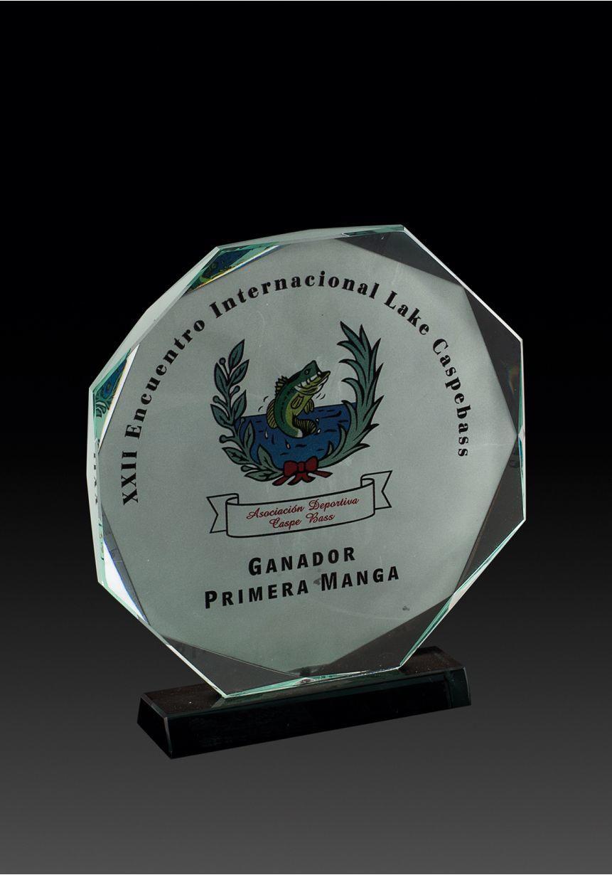 Trofeo de cristal octogonal con imagen en color