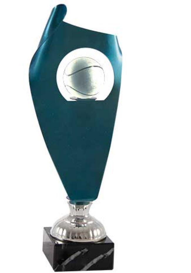 Trofeo de cristal forma vela enrollada opción pelota soporte aluminio base mármol