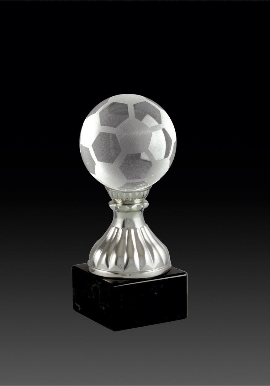 Trofeo de cristal copa invertida opción pelota base mármol