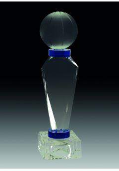 Trofeo de cristal prisma triangular detalle azul opción pelota base cristal Thumb