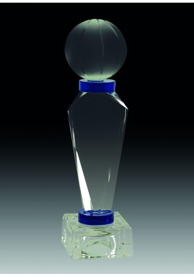 Trofeo de cristal prisma triangular detalle azul opción pelota base cristal