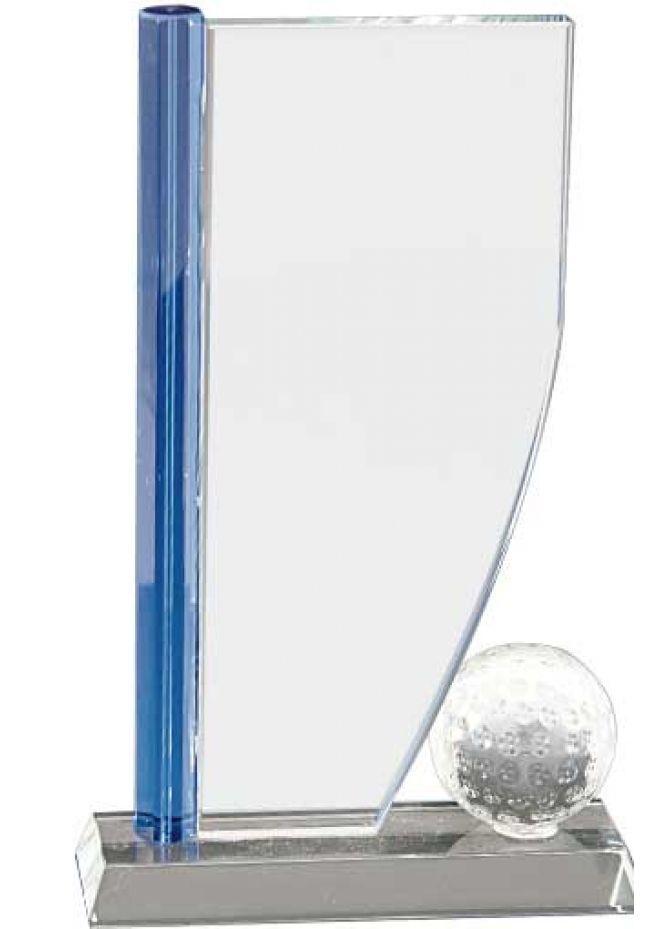 Trofeo de cristal forma vela columna lateral azul opción pelota base aluminio