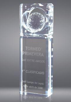 Trofeo de cristal forma prisma pelota Thumb