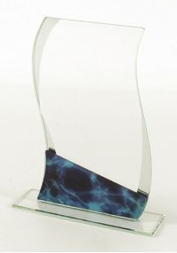 Crystal trophy crystal blue inverted trapezoid shape support
