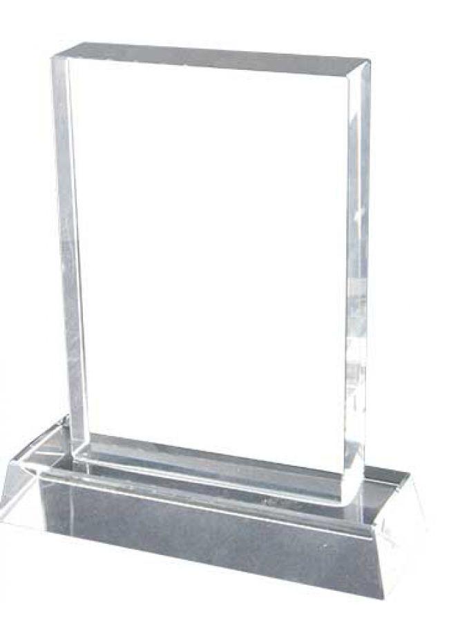 Trofeo de cristal forma rectangular base alta aluminio