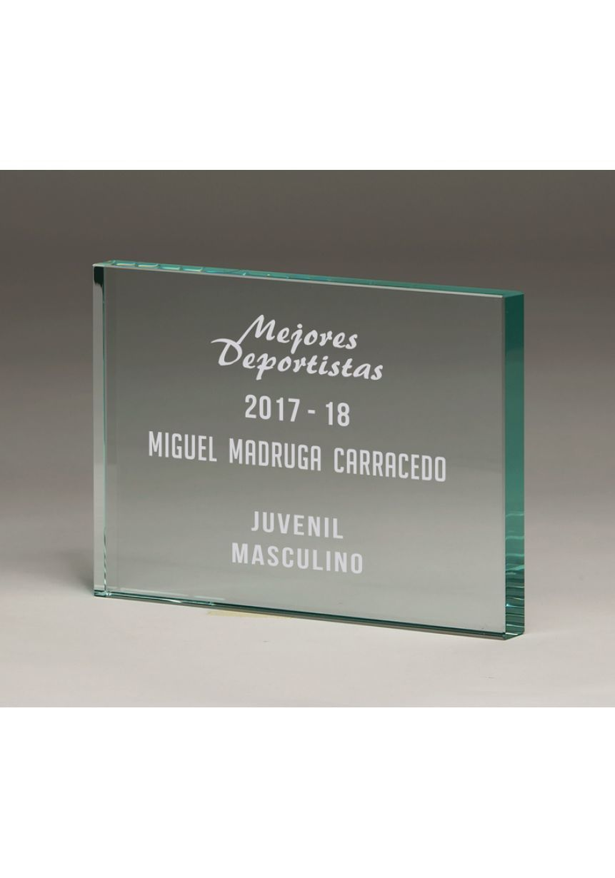 Trofeo taco cristal forma rectangular