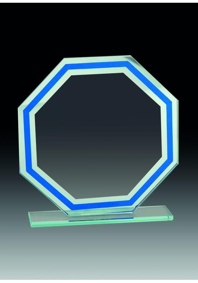 Trofeo de cristal octogonal detalle azul