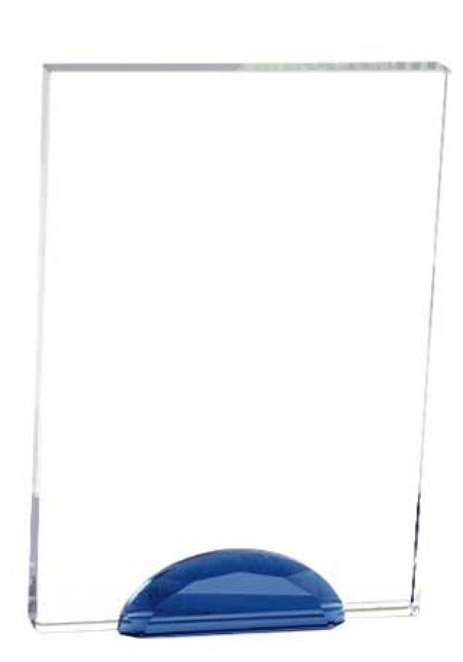 Trofeo de cristal forma rectangular soporte azul