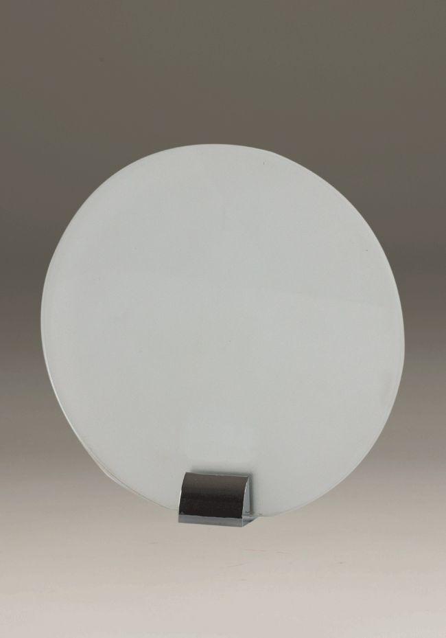 Trofeo de cristal forma circular soporte aplique