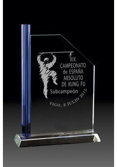 Trofeo de cristal columna lateral azul base rectangular aluminio Thumb