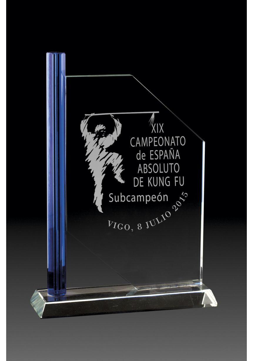 Trofeo de cristal columna lateral azul base rectangular aluminio