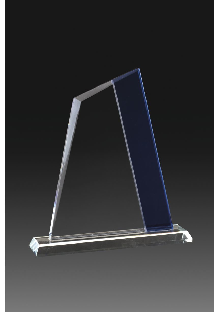Trofeo de cristal forma vela bicolor azul-cristal