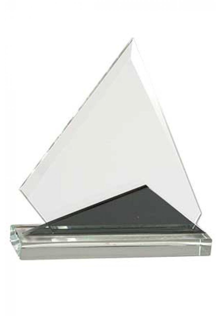 Trofeo de cristal piramidal doble bicolor negro-cristal, base rectangular cristal
