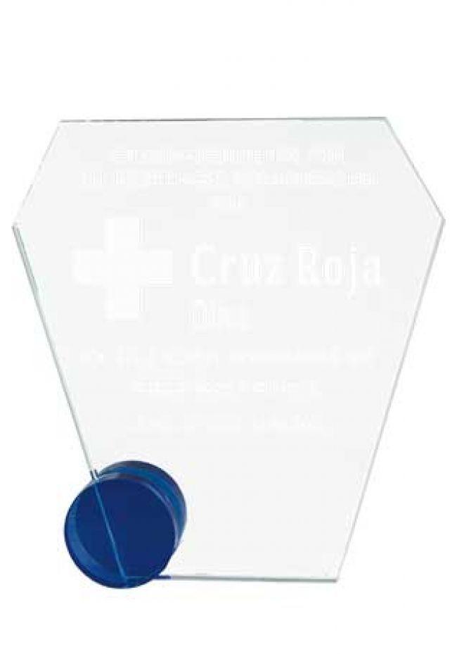 Trofeo de cristal forma esquela base circular azul