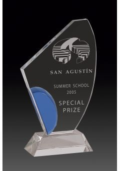 Trofeo de cristal forma vela detalle azul base rectangular cristal Thumb