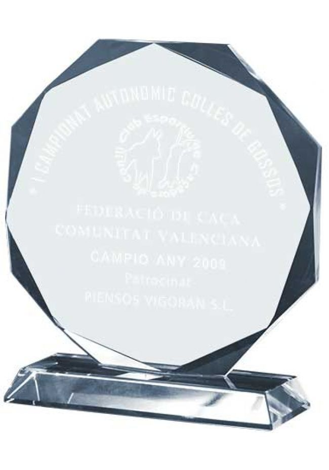 Trofeo de cristal forma octogonal base rectangular
