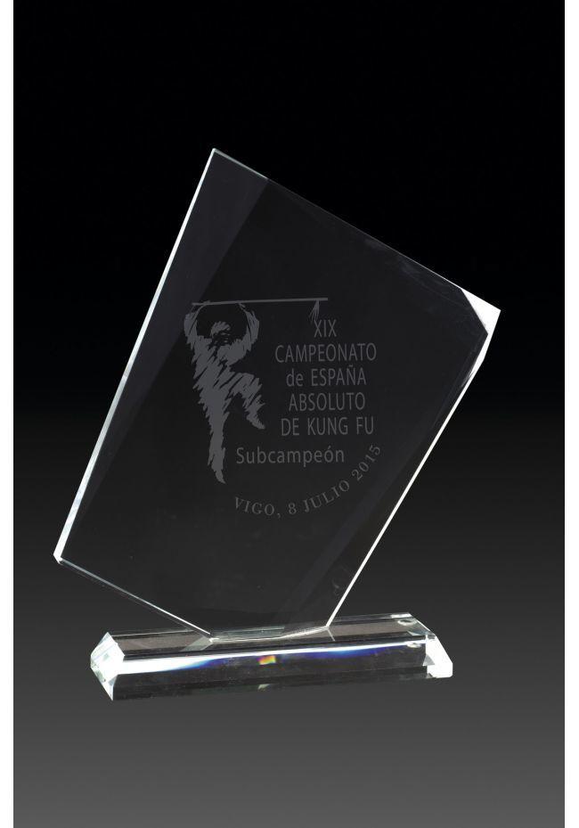 Trofeo de cristal base rectangular cristal
