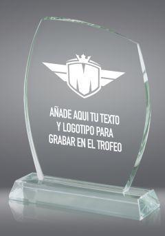 Trofeo de cristal redondeado base rectangular cristal Thumb
