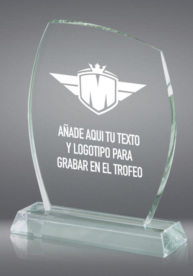Trofeo de cristal redondeado base rectangular cristal