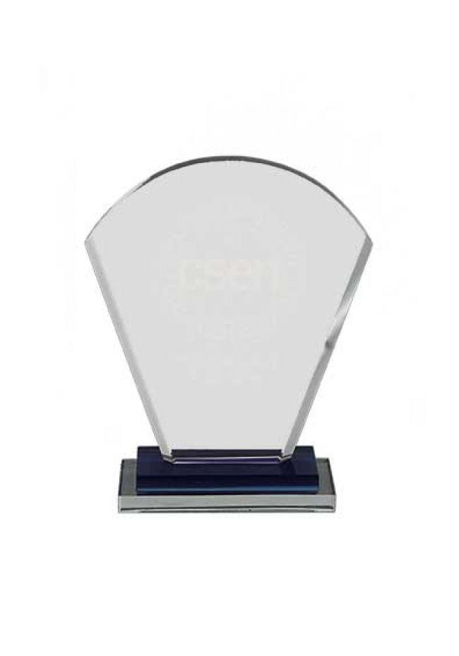 Trofeo de cristal doble base rectangular azul-aluminio