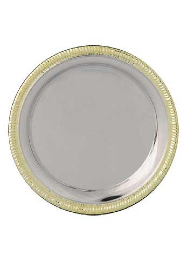 Plato aluminio con borde de latón labrado