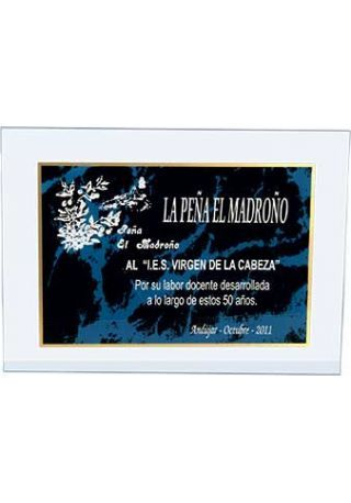 placa metacrilato rectangular borde dorado impresión