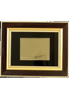 placa de homenaje forma rectangular tipo cuadro doble madera dorado sublimacion 11
