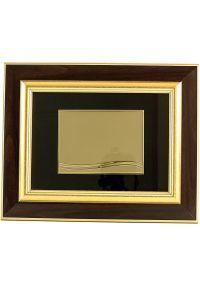Placa de homenaje forma rectangular tipo cuadro doble madera-dorado sublimación