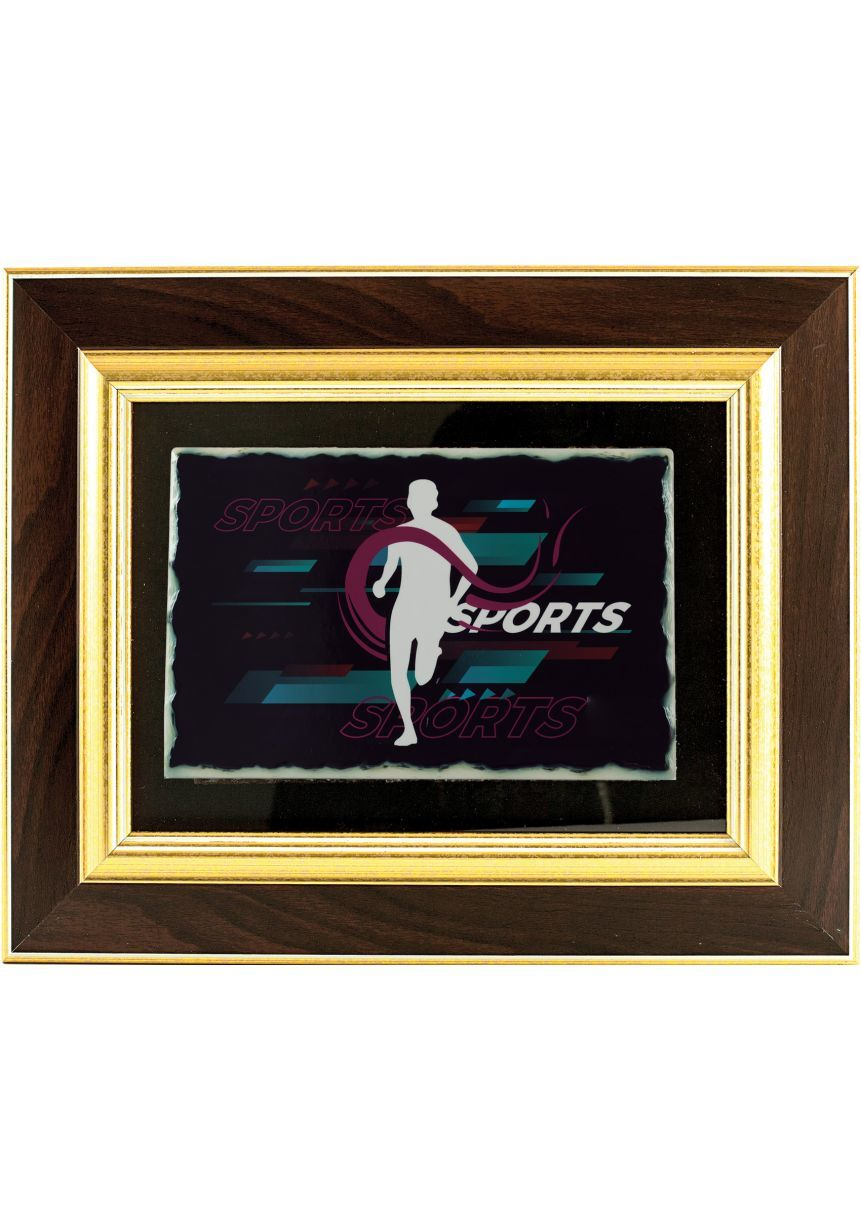 Tribute plate rectangular wood-frame double gold sublimation