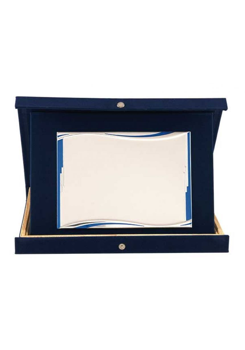 Placa de homenaje especiales forma rectangular ondas azul aluminio estuche