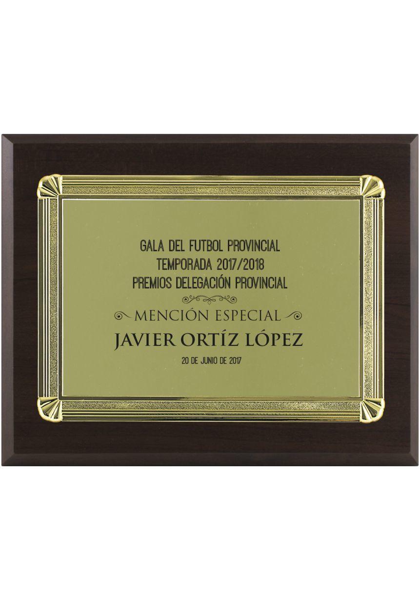 Placa de homenaje especiales forma rectangular aluminio