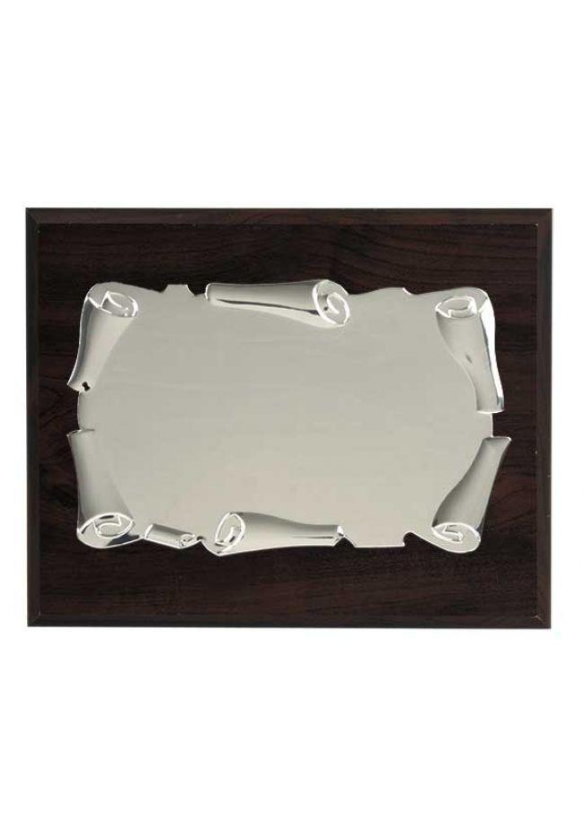 Placa de homenaje forma pergamino enrollado aluminio soporte nogal
