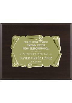 Placa de homenaje dorada soporte nogal